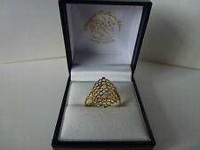 NEW, Ladies, 9ct Yellow Gold Fancy Filigree Design Ring, size O