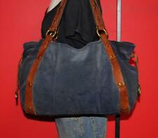 Vtg LUCKY Brand LARGE Blue Suede Leather Carryall Slouch Tote Purse Bag Boho