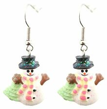 Zest Christmas Snowman with Striped Scarf Drop Earrings for Pierced Ears Yellow