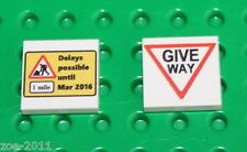 Lego 2x White Tile 2x2 Custom Printed Road Sign NEW!!! 2
