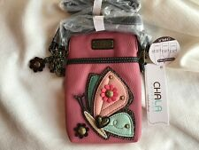 NEW CHALA BLUE CREAM PINK BUTTERFLY CELL PHONE CROSSBODY PURSE ADJUSTABLE STRAP