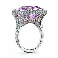 25ct Cuahion Cut Pink Solitaire Engagement Ring 925 Sterling Silver Sz Cz White