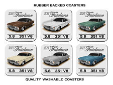 FORD 76'  77'  ZH  FAIRLANE 500 351  V8 SET OF 6  QUALITY RUBBER DRINK  COASTERS