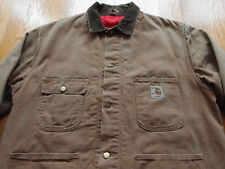 Vintage Carhartt Chore Work Jacket Size 44 L XL Quilted WIP Faded Union Made EU