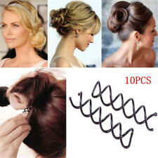 10pcs Womens Black Spiral Spin Screw Bobby Pin Girls Hair Clip Twist Barrette