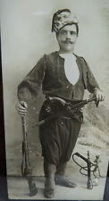 RARE US Civil War Photograph ZOUAVE soldier / rifle gun sword & HOOKA water pipe