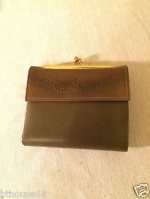 Vintage New NOS Princess Gardner Womens Green Tooled Leather Clutch Wallet USA