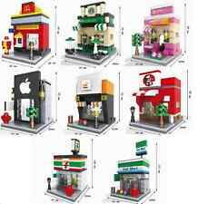 Lego Compatible City Town Mini Modular Lot of 8 Buildings Apple Store Starbucks