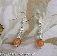 Pretty Crackle Glass Clear Peach Beads Silver Tone Melon Ball Dangle Pierced Ear