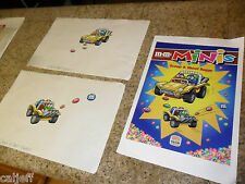 3 PIECE LOT BURGER KING KIDS CLUB M&M CANDY PROOF POSTER SCOOP & SHOOT BUGGY TOY