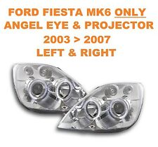 Ford Fiesta Mk 6 Chrome Angel Eyes & Projector Headlights 03   07 ONLY