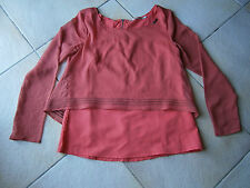 TOP MANCHES LONGUES ROSE MOTIFS GRIS TAILLE XS MARQUE DDP COLLECTION AUTOMNE2013