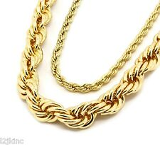 """Mens 18K Yellow Gold Plated 5mm & 10mm Rope Chain Necklace 24"""" & 30"""" Set"""