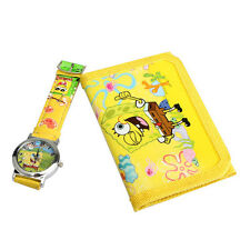Cartoon Watches Lovely Spongebob Squarepants Yellow Quartz  With Purse For Kids