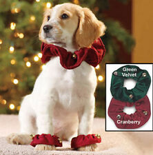 Dog Paws Ruffs, Large Dog, Wine Velvet, Christmas Paw Ruffles with bells, 2pk