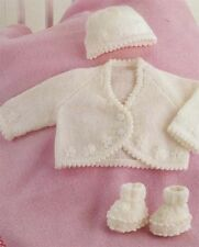 BABY knitting pattern / baby cardigan hat booties size prem  10 upto 16  INCHES