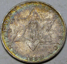 1858 Three Cent Silver Choice Au. Pretty coin with Nice Album Rim Toning, Pq!