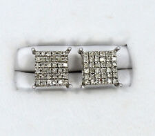 10kt Solid White Gold Micro Pave Diamond Stud Pierced Earrings