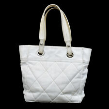 Auth CHANEL Logos Paris Biarritz Quilted Shoulder Tote Bag Leather White 37S801