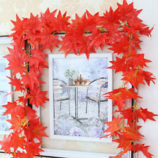 2.4M Home Decor Red Autumn Leaves Garland Maple Leaf Vine Fake Foliage Flower