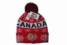 CANADA ARCTIC ZOOM RED WITH SNOWFLAKES TOQUE HAT WITH POM POM..NEW