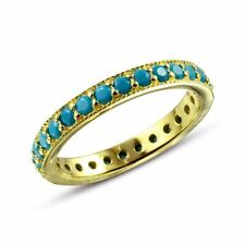 ETERNITY RING  W/ TURQUOISE  /SZ 5 - 9/ 14K YELLOW GOLD OVER 925 STERLING SILVER