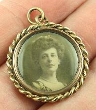 Antique Victorian Edwardian c 1910 gilt metal picture locket pendant