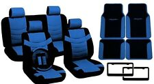 Blue & Black PU Synth Leather Seat Covers Floor Mats License Plate Frames CS1