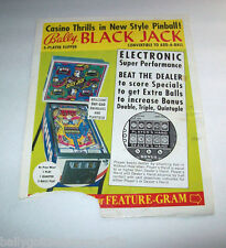 1978 BALLY BLACK JACK ORIGINAL PINBALL MACHINE PROMO ADVERTISING FLYER