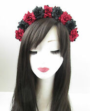 Red & Black Rose Flower Hair Crown Headband Headpiece Vintage Goth Festival V92
