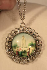 Lovely Round Picot Rim Our Lady of Fatima Medal Silvertone Pendant Necklace
