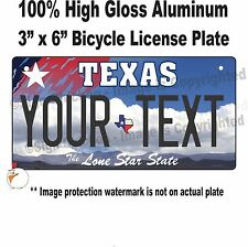 "CUSTOM PERSONALIZED TEXAS STATE BICYCLE LICENSE PLATE WITH TEXT 3"" x 6"" vanity"