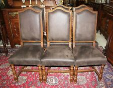 Set Of 6 French Antique Oak Louis XIII Dining Chairs - New Upholstery