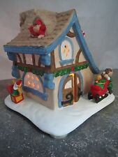 Partylite Tealight Candle Holder Santa's Workshop Christmas ELVES House CUTE!