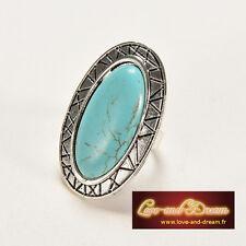 Bague Réglable Tibet Argenté Pierre Turquoise | Adjustable Ring Turquoise Stone