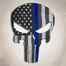 Punisher Skull Police Blue Line American Flag Decal Sticker 5""