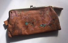 Fossil Leather Clutch Wallet! Butterflies And Brass Grommets!!! EUC