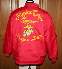 VTG Men's Marine Corps League Badger Detachment Jacket L/XL RED Embroidered USA