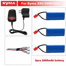 3x7.4V 2000mAh 25C Lipo Battery+Charger For Syma X8C X8W RC Quadcopter Drone