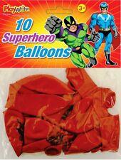 10 x buona qualità grandi 30cm NERO ROSSO SUPER EROE SUPERHERO PARTY PALLONCINI