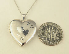 "VINTAGE STERLING SILVER ENGRAVED HEART LOCKET PENDANT ON 18"" CHAIN NECKLACE"