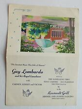 Restaurant  Luncheon  Menu For The Roosevelt Grill Dinner & Supper Dancing  1951