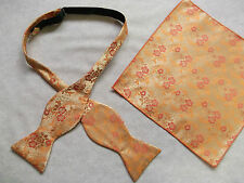 NEW MENS SELF TIE DICKIE BOW GOLDEN ORANGE FLORAL BOWTIE & TOP POCKET HANKIE