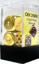 Chessex Dice - 2x Gold Plated 16mm d6 - CHX29006