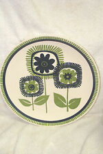 Royal China TRIPLE TREAT Mid Century Modern Green Blue GEOMETRIC Flowers Platter