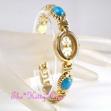 Genuine Turquoise Semi-Precious Stone Gems Gold Pltd Vintage Antique Style Watch