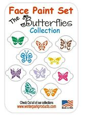 10 Piece Butterflies Butterfly Face Paint Set Facepaint Kit Stencils Cupcake