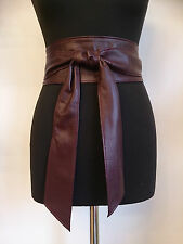 Burgundy Red Wine Real Leather Obi Sash Corset Tie Wrap Belt Spanish Handmade UK