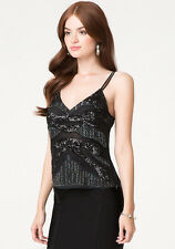 BEBE BLACK SEQUIN BEADED DOUBLE STRAP TANK CAMI TOP NEW NWT $98 LARGE L