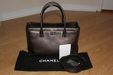 Chanel Executive Cerf Metallic Brown Bronze Deerskin Leather Tote Bag